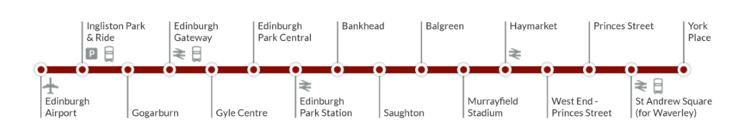 Edinburgh Trams route map